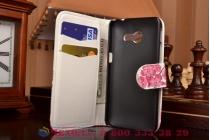 """Фирменный уникальный необычный чехол-книжка с визитницей кармашком для Asus Zenfone 4 4.0"""" A400CG """"тематика цветок вишни"""""""