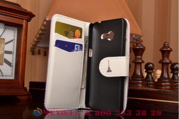 """Фирменный уникальный необычный чехол-подставка с визитницей кармашком для Asus Zenfone 4 4.0"""" A400CG  """"тематика Франция"""""""
