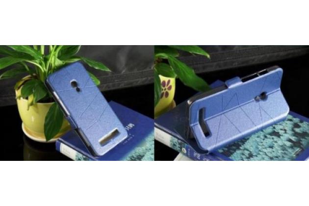 Чехол-футляр Flip Cover с окошком для входящих для ASUS Zenfone 5 A500CG синий кожаный