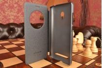 Фирменный оригинальный чехол-книжка для Asus Zenfone 5 A502CG черный с окошком для входящих вызовов