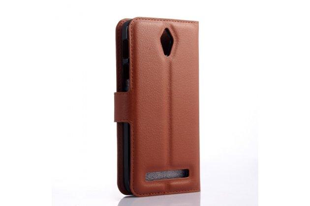 Фирменный чехол-книжка из качественной импортной кожи с подставкой для Asus Zenfone C ZC451CG коричневый