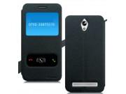 Фирменный чехол-книжка для Asus Zenfone C ZC451CG черный с окошком для входящих вызовов и свайпом водоотталкив..