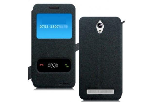 Фирменный чехол-книжка для Asus Zenfone C ZC451CG черный с окошком для входящих вызовов и свайпом водоотталкивающий