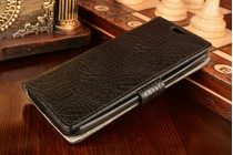 """Фирменный чехол-книжка с подставкой для ASUS ZenFone Go ZB452KG 4.5"""" лаковая кожа крокодила черный"""