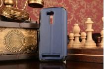 """Фирменный оригинальный чехол-книжка для ASUS ZenFone Go ZB452KG 4.5"""" синий с окошком для входящих вызовов водоотталкивающий"""