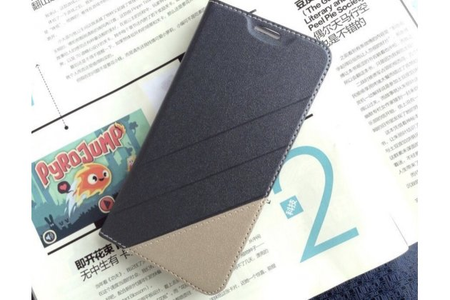 Фирменный оригинальный водооталкивающий чехол-книжка для ASUS Zenfone 4 4.5 A450CG черно-золотой