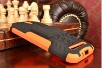 """Противоударный усиленный ударопрочный фирменный чехол-бампер-пенал для Asus Zenfone Go ZC451TG 4.5"""" оранжевый"""