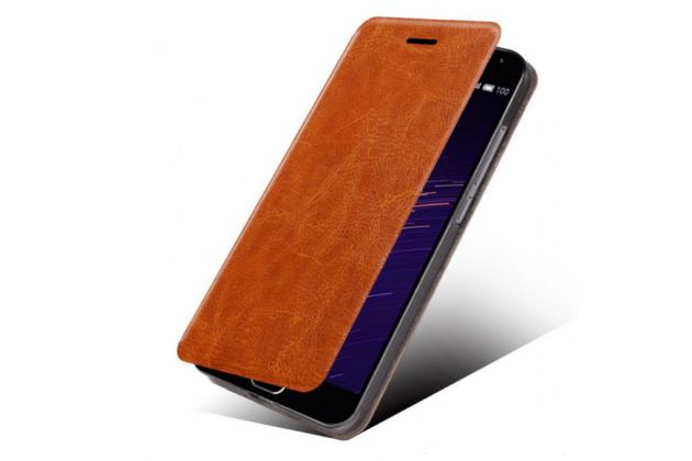 """Фирменный чехол-книжка из качественной водоотталкивающей импортной кожи на жёсткой металлической основе для Asus Zenfone Go ZB500KL/ZB500KG 5.0"""" коричневый"""