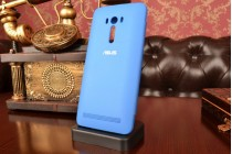 """Ультра тонкий лёгкий чехол-обложка с окном для входящих вызовов для ASUS Zenfone Selfie ZD551KL 5.5""""  голубой"""