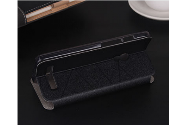 """Фирменный оригинальный чехол-книжка для ASUS Zenfone 2 Lazer ZE500KL/ZE500KG 5.0"""" черный пластиковый с окошком для входящих вызовов"""