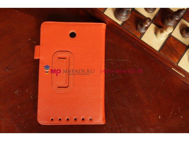 Фирменный чехол для Asus MeMO Pad HD 7 ME173X оранжевый натуральная кожа