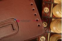 """Фирменный чехол-обложка для Asus MeMO Pad HD 7 ME173X с визитницей и держателем для руки коричневый натуральная кожа """"Prestige"""" Италия"""