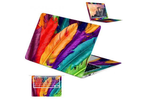 Фирменная оригинальная защитная пленка-наклейка с 3d рисунком тематика Цветные перья на твёрдой основе, ударопрочная, которая не увеличивает ноутбук в размерах для ASUS ZENBOOK UX305CA