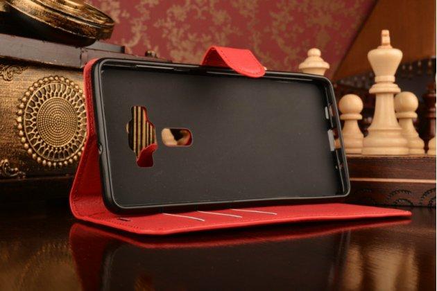 """Фирменный чехол-книжка из качественной импортной кожи с подставкой застёжкой и визитницей для Асус Зенфон 3 Делюкс ЗС570КЛ 5.7"""" красный"""
