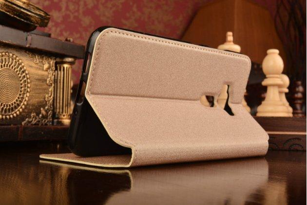 """Фирменный оригинальный чехол-книжка для ASUS Zenfone 3 ZE552KL 5.5"""" золотой с окошком для входящих вызовов водоотталкивающий"""