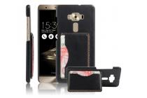 """Фирменная роскошная элитная премиальная задняя панель-крышка для ASUS ZenFone 3 Deluxe ZS570KL 5.7"""" из качественной кожи буйвола с визитницей черная"""