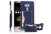 """Фирменная роскошная элитная премиальная задняя панель-крышка для ASUS ZenFone 3 Deluxe ZS570KL 5.7"""" из качественной кожи буйвола с визитницей синяя"""