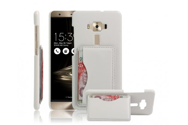 """Фирменная роскошная элитная премиальная задняя панель-крышка для ASUS ZenFone 3 Deluxe ZS570KL 5.7"""" из качественной кожи буйвола с визитницей белая"""