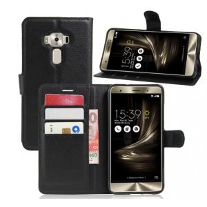 """Фирменный чехол-книжка из качественной импортной кожи с подставкой застёжкой и визитницей для Асус Зенфон 3 Делюкс ЗС570КЛ 5.7"""" черный"""