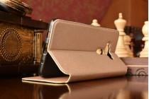 Фирменный оригинальный чехол-книжка для ASUS ZenFone 3 Deluxe ZS570KL 5.7 золотой с окошком для входящих вызовов водоотталкивающий