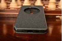 Фирменный оригинальный чехол-книжка для ASUS ZenFone 3 Deluxe ZS570KL 5.7 черный с окошком для входящих вызовов водоотталкивающий
