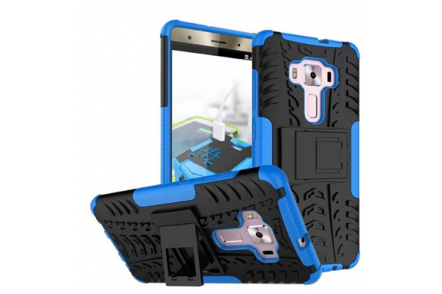 """Противоударный усиленный ударопрочный фирменный чехол-бампер-пенал для ASUS ZenFone 3 Deluxe ZS570KL 5.7"""" синий"""