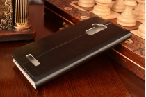 """Фирменный чехол-книжка  для ASUS ZenFone 3 Max ZC520TL 5.2"""" из качественной водоотталкивающей импортной кожи на жёсткой металлической основе черного цвета"""