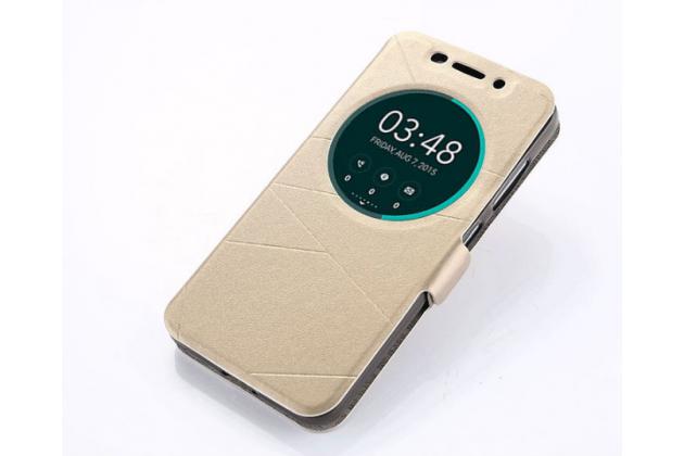 """Фирменный оригинальный чехол-книжка для ASUS ZenFone 3 Max ZC553KL 5.5"""" золотой с окошком для входящих вызовов водоотталкивающий"""
