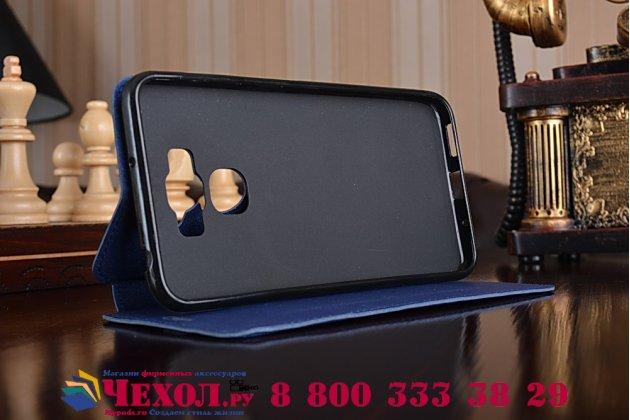 """Фирменный оригинальный чехол-книжка для ASUS ZenFone 3 Max ZC553KL 5.5"""" синий водоотталкивающий"""