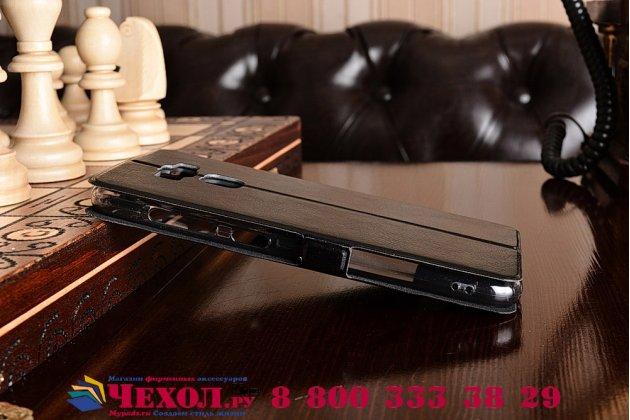 """Фирменный чехол-книжка для ASUS ZenFone 3 Max ZC553KL 5.5"""" черный с окошком для входящих вызовов и свайпом водоотталкивающий"""