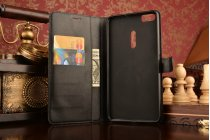 Фирменный чехол-книжка из качественной импортной кожи с подставкой застёжкой и визитницей для ASUS ZenFone 3 Ultra ZU680KL 6.8 черный