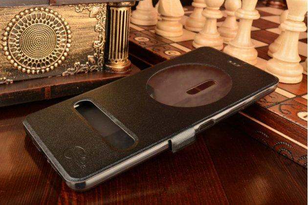 Фирменный чехол-книжка для ASUS ZenFone 3 Ultra ZU680KL 6.8 черный с окошком для входящих вызовов и свайпом водоотталкивающий