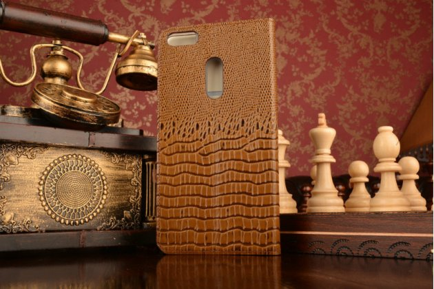 """Фирменный роскошный эксклюзивный чехол с объёмным 3D изображением кожи крокодила коричневый для ASUS ZenFone 3 Ultra ZU680KL 6.8"""". Только в нашем магазине. Количество ограничено"""
