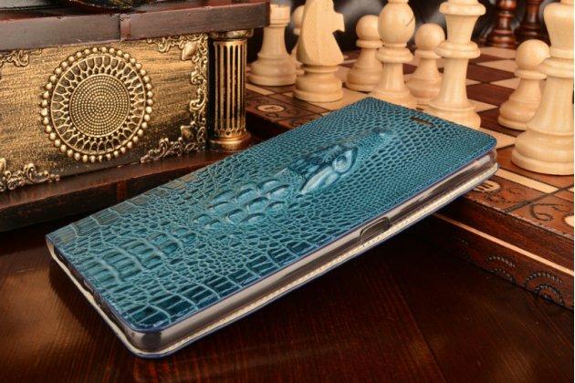 """Фирменный роскошный эксклюзивный чехол с объёмным 3D изображением рельефа кожи крокодила синий для ASUS ZenFone 3 Ultra ZU680KL 6.8"""". Только в нашем магазине. Количество ограничено"""