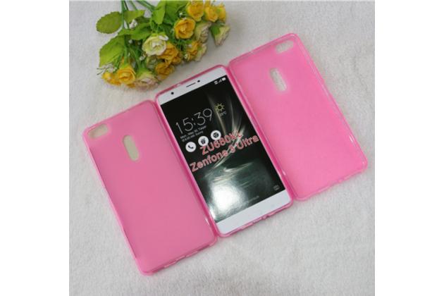 """Фирменная ультра-тонкая силиконовая задняя панель-чехол-накладка для ASUS ZenFone 3 Ultra ZU680KL 6.8"""" розовая"""