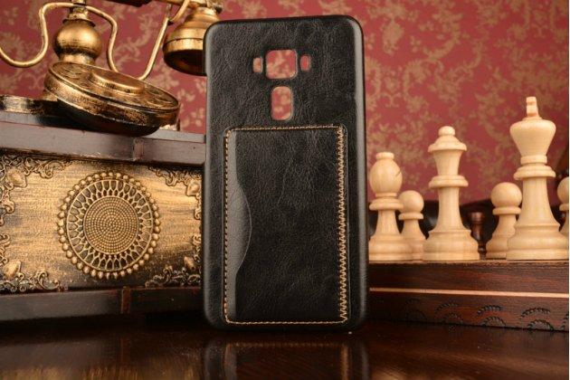 """Фирменная роскошная элитная премиальная задняя панель-крышка для ASUS Zenfone 3 ZE552KL 5.5"""" из качественной кожи буйвола с визитницей черная"""