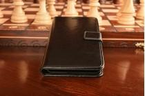 """Фирменный чехол-книжка из качественной импортной кожи с подставкой застёжкой и визитницей для Асус Зенфон 3 ЗЕ552КЛ 5.5"""" черный"""
