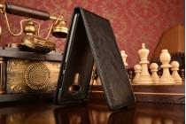 """Фирменный оригинальный вертикальный откидной чехол-флип для ASUS Zenfone 3 ZE552KL 5.5"""" черный кожаный"""