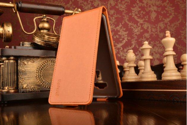 """Фирменный оригинальный вертикальный откидной чехол-флип для ASUS Zenfone 3 ZE552KL 5.5"""" оранжевый кожаный"""