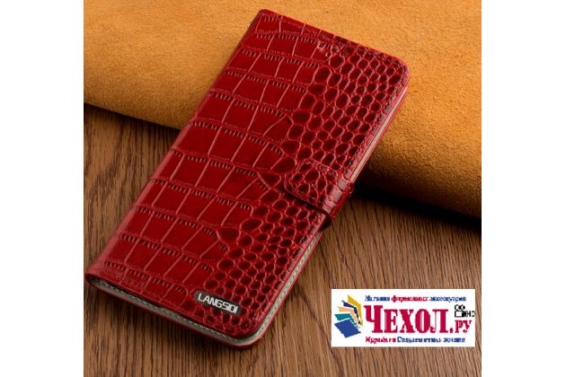Фирменный чехол-книжка с подставкой для ASUS Zenfone 3 ZE552KL 5.5 (Z012DA / Z012DE) лаковая кожа крокодила красного цвета