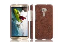 """Фирменная роскошная элитная премиальная задняя панель-крышка для ASUS Zenfone 3 ZE552KL 5.5""""  из лаковой кожи крокодила коричневая"""