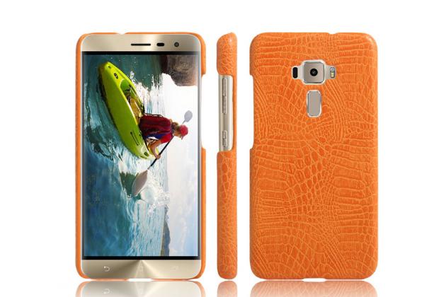 """Фирменная роскошная элитная премиальная задняя панель-крышка для ASUS Zenfone 3 ZE552KL 5.5""""  из лаковой кожи крокодила оранжевая"""