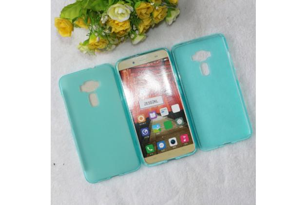 """Фирменная ультра-тонкая силиконовая задняя панель-чехол-накладка для ASUS Zenfone 3 ZE552KL 5.5"""" голубая"""
