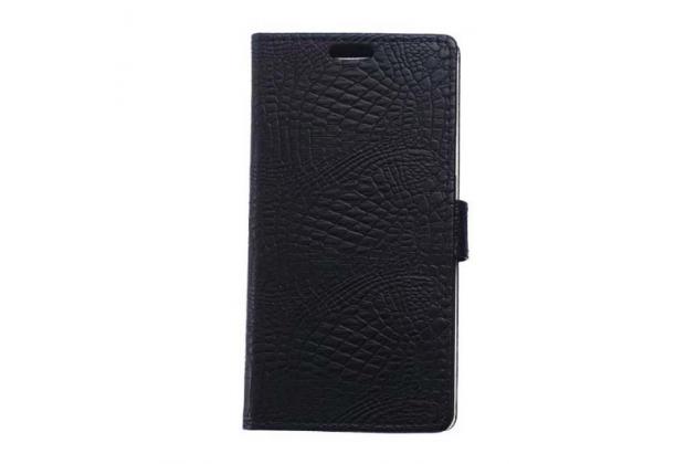 """Фирменный чехол-книжка с подставкой для ASUS Zenfone 3 ZE552KL 5.5"""" лаковая кожа крокодила черный"""