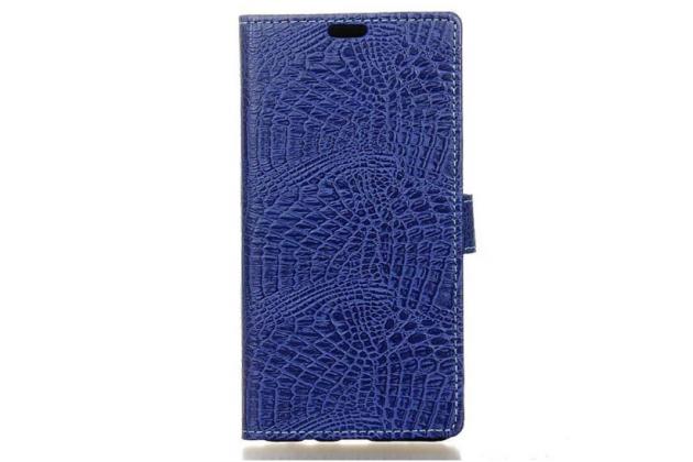 """Фирменный чехол-книжка с подставкой для ASUS Zenfone 3 ZE552KL 5.5"""" лаковая кожа крокодила темно-синий"""