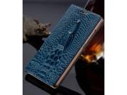 Фирменный роскошный эксклюзивный чехол с объёмным 3D изображением рельефа кожи крокодила синий для ASUS Zenfon..