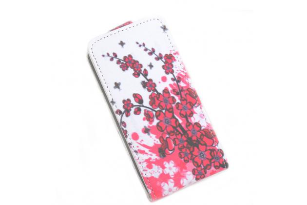"""Фирменный вертикальный откидной чехол-флип для ASUS Zenfone 3 ZE552KL 5.5""""   """"тематика Цветок Вишни"""""""