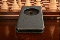 """Фирменный оригинальный чехол-книжка для ASUS Zenfone 3 ZE552KL 5.5"""" черный с окошком для входящих вызовов водоотталкивающий"""
