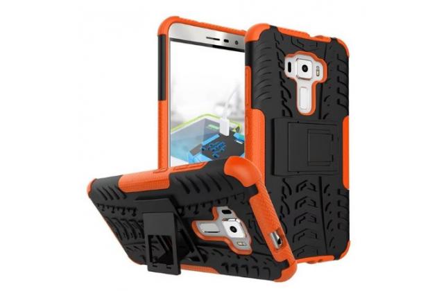 """Противоударный усиленный ударопрочный фирменный чехол-бампер-пенал для ASUS Zenfone 3 ZE552KL 5.5"""" оранжевый"""