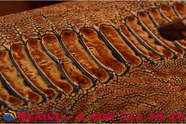 """Фирменная элегантная экзотическая задняя панель-крышка с фактурной отделкой натуральной кожи крокодила кофейного цвета для ASUS Zenfone Selfie ZD551KL 5.5"""" . Только в нашем магазине. Количество ограничено."""